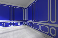 Blue empty room with white molding and parquet. Blue empty room interior with sunlight from window, decorative classic molding frames on walls, white wooden Royalty Free Stock Photos