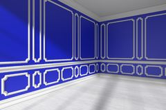 Blue empty room with molding and white parquet closeup. Blue empty room interior with sunlight from window, decorative classic style molding frames on walls Stock Image
