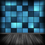 Blue empty room, interior. With wallpaper. High resolution texture background Stock Photos
