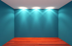 Blue Empty Room lighting Stock Images