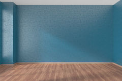 Blue empty room with parquet floor. Empty room with blue walls and wooden parquet floor under sunlight through window, 3D illustration Royalty Free Stock Image