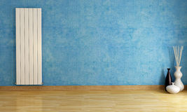 Blue empty room with radiator. Blue empty room with  vertical hot water radiator - rendering Stock Photography