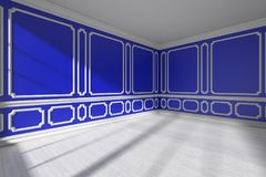Blue empty room with white molding and parquet floor. Blue empty room interior with sunlight from window, decorative classic style molding frames on walls, white Royalty Free Stock Images