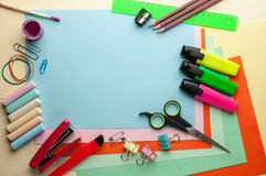 Blue empty sheet with stationery objects. Stock Images