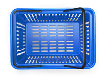 Blue  empty  shopping basket isolated on white background. 3d illustration Stock Photography