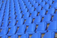 Blue empty stadium seats Stock Photos