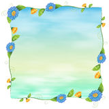 A blue empty template with flowers Royalty Free Stock Photography