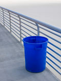 Blue empty trash can. Royalty Free Stock Photo