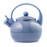 Blue enamel kettle isolated on white Stock Images