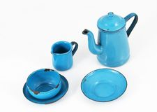Blue Enamel Kitchenware Royalty Free Stock Photos