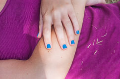 Blue enamel for nails Royalty Free Stock Photos
