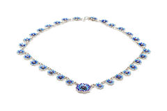 Blue enamel necklace Royalty Free Stock Photos