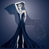 Blue enchanting evening dress Stock Image