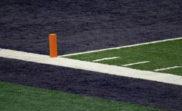 Blue End Zone and Orange Pylon Stock Photography