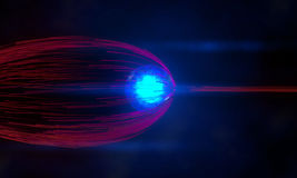 Blue energy ball pushes away particles stream Royalty Free Stock Images