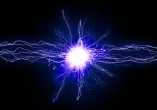Blue energy light. Illustration of a powerful blue light with flashes stock illustration