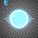 Blue energy ring with speed glow lines on transparent backgraund. abstract.conceptual vector design with free area in. Center for any object. Vector Royalty Free Stock Images