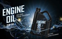 Blue engine oil ad Stock Photo