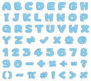 Blue English Alphabet and Number stock illustration