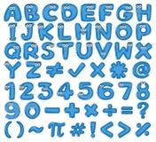 Blue English Alphabet and Number. Illustration Stock Photo