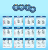 Blue English calendar for 2016 with circle cut jeans tags. And old style month names. Sundays first. Vector illustration Stock Photo