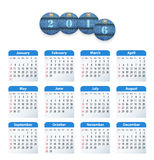 Blue English calendar for 2016 with circle cut jeans tags. Sundays first. Vector illustration Royalty Free Stock Image