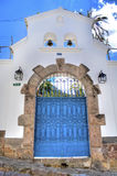 Blue entrance door with bells Royalty Free Stock Images