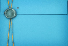 Blue envelope. With sealing wax stamp stock photos