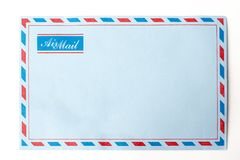 Blue envelope airmail. Envelope in isolated background royalty free stock images