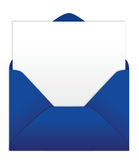 Blue envelope with blank letter. Blue envelope with blank note paper Royalty Free Stock Photos