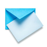 Blue envelope with card Stock Image