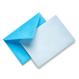 Blue envelope with card Royalty Free Stock Photography