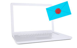 Blue envelope and a laptop. Isolated render on a white background Royalty Free Stock Images