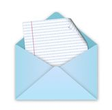 Blue envelope with letter Royalty Free Stock Images