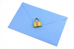 Blue envelope and lock Stock Image