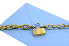 Blue envelope and lock Stock Photography