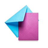 Blue envelope with pink card Royalty Free Stock Image