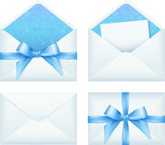 Blue envelope with ribbon, vector set Royalty Free Stock Images