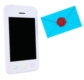 Blue envelope and smartphone. Isolated render on a white background Royalty Free Stock Images