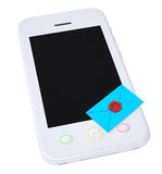Blue envelope and smartphone. Isolated render on a white background Royalty Free Stock Photo