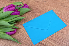 Blue envelope and violet tulips on a wooden background Stock Photo