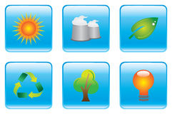 Blue Environmental Conservation Icon Set Stock Images