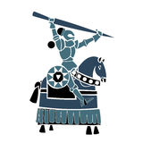 Blue equestrian knight Stock Photography