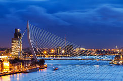 Blue Erasmus bridge. Beautiful image of the famous Erasmus bridge over the river Meuse in Rotterdam, the Netherlands royalty free stock images