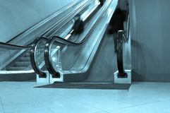 Blue escalator Royalty Free Stock Photo