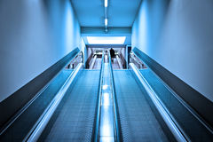 Blue Escalators Royalty Free Stock Photography