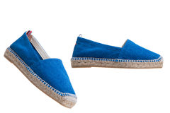 Blue espadrilles Royalty Free Stock Images