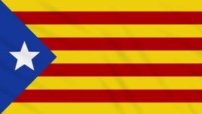 Blue estelada flag waving cloth background, loop. Informal flag of Catalan lands - blue estelada waving cloth, ideal for background, loop stock video footage