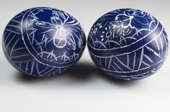 Blue Ester Decorated Eggs Royalty Free Stock Photos