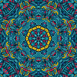 Blue Ethnic geometric mandala print. Colorful background texture. Royalty Free Stock Photography